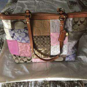 COACH patchwork signature logo handbag